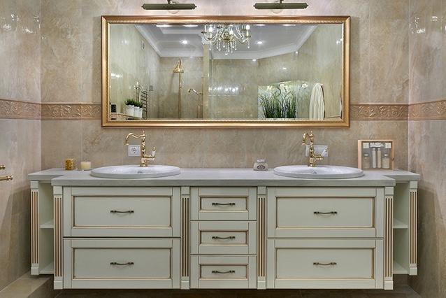 Пример светлой тумбы в ванную комнату